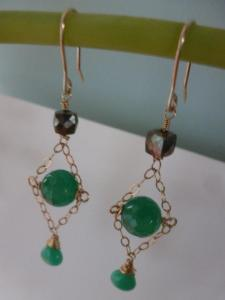 pyrites, green onyx and chrysoprase on gold