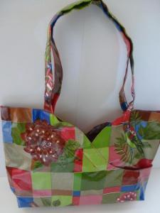 birds and flowers oilcloth purse