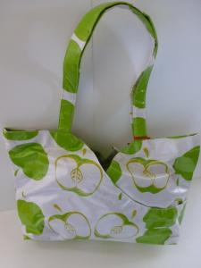 green and white apples purse