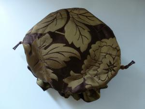 green-gold floral on deep brown taffeta
