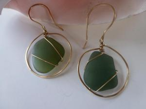 bottle green Rincon PR seaglass and gold