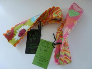 hearts in pink, green and orange pique/pink. lime, lemon and orange waves