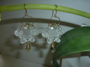 faceted citrine gems and crystal art glass beads on 14kt goldfill