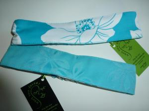 turquoise and white floral reverses to turquoise cotton damask