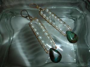 pearls and gold and turquoise brios on swinging rectangle earrings