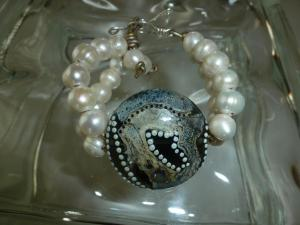 Round, luscious ivory freshwater pearls, silver and art bead focal