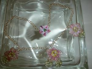 lovely pink and gold art glass flowers and leaves