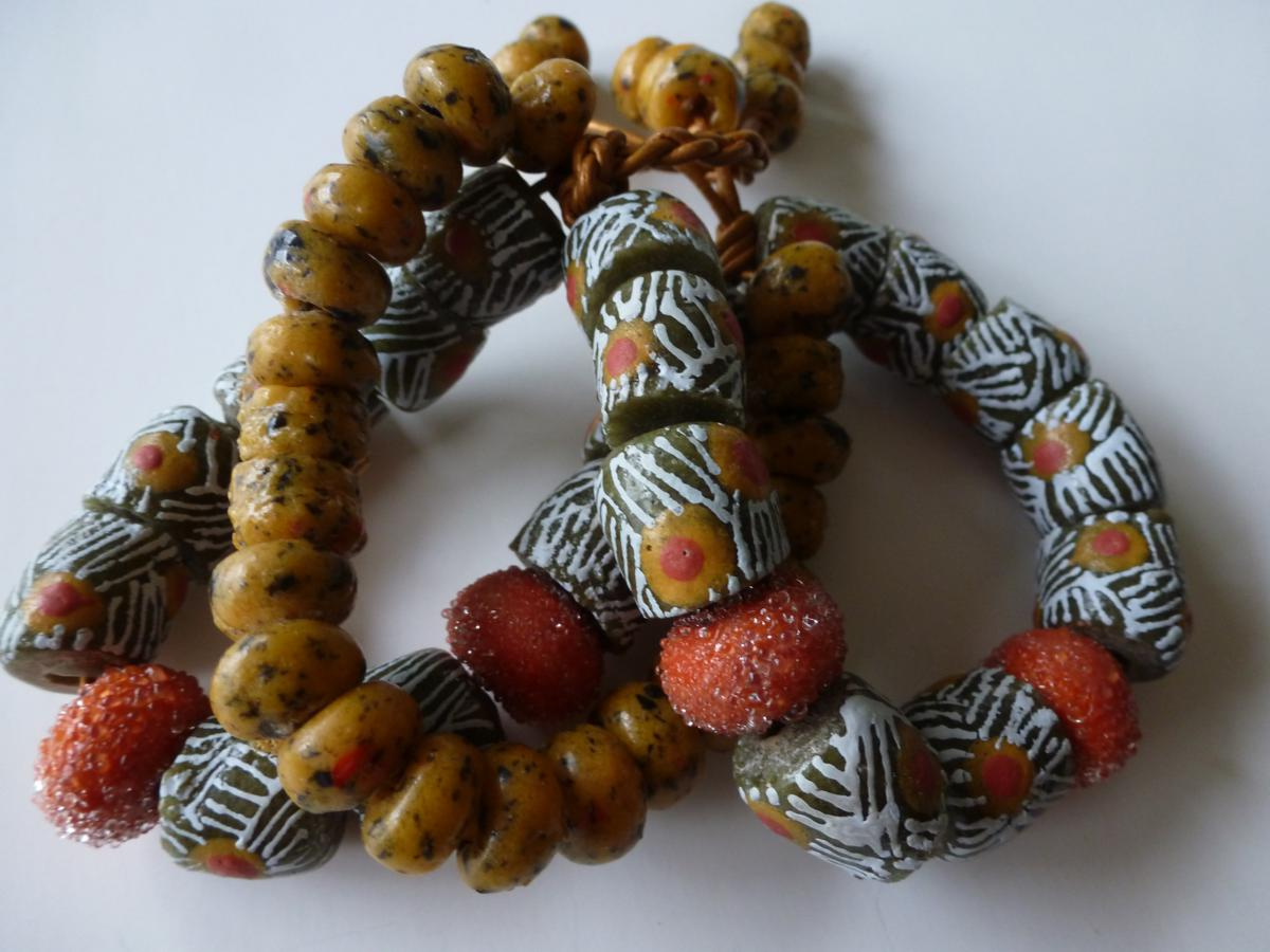 "... beads and sugared art beads on leather w/ braided toggle ""Tribal Trio"